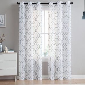 Pair of 2 sheer white and grey patterned curtains